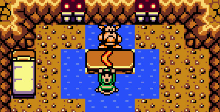 Links holds up the boomerang in The Legend of Zelda: Link's Awakening.