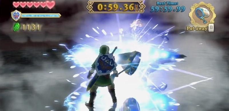Fighting Demise with Bug Net in The Legend of Zelda: Skyward Sword.