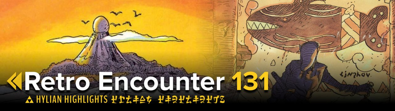 Hylian Highlights Retro Encounter 131 featuring an island at sunset with an egg on a mountain, and Link gazing upon a whale in an ancient cave drawing.