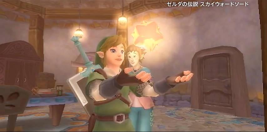 Link Holding a Gratitude Crystal in The Legend of Zelda: Skyward Sword.