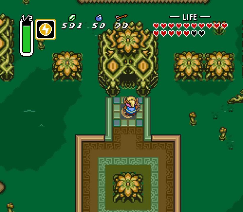 Misery Mire Dungeon Entrance in The Legend of Zelda: A Link to the Past.