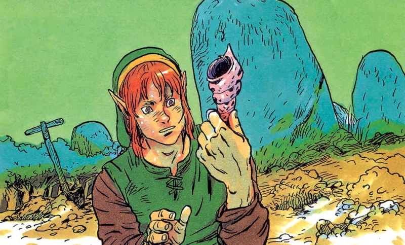 Link quizzically looks at a secret seashell in The Legend of Zelda: Link's Awakening artwork.