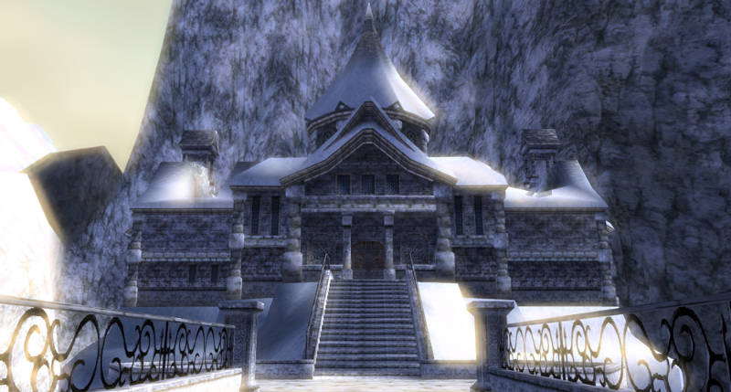 The Legend of Zelda: Twilight Princess Screenshot of the exterior of Snowpeak Ruins, a snow-covered mountain mansion.