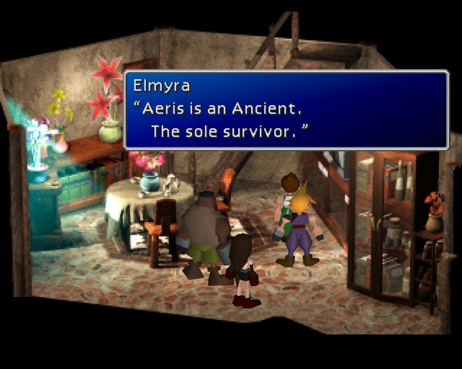 Final Fantasy VII screenshot of Elmyra at home with the dialogue, Aeris is an Ancient. The sole survivor.