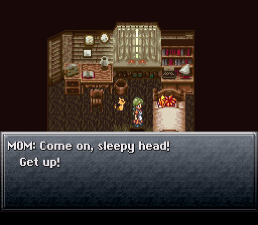 Chrono Trigger screenshot of Chrono in bed with his mom waking him up with the dialogue, Come on, sleepy head! Get up!