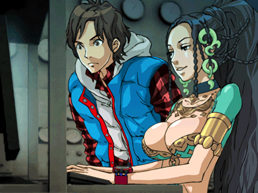 999 screenshot of Hazuki Kashiwabara aka Lotus dressed as a belly dancer with a male companion in a vest watching as she types at a computer.
