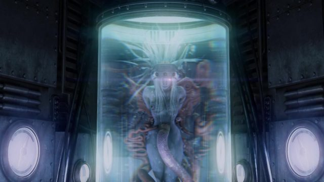Final Fantasy VII artwork of Jenova, a female humanoid alien in a large glass containment tube, with several rubes and cords attached to her blue skin.