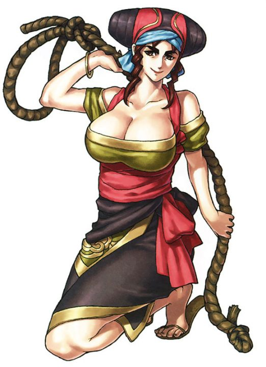 Suikoden V artwork of Kisara, a full-bodied woman dressed in several layers of wrapped clothing, tightly gripping a large, sturdy rope.