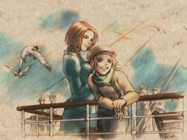 Shadow Hearts artwork of Koudelka smiling at her daughter Halley leaning on the rail of a ship at sea as seagulls fly overhead.