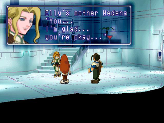 Xenogears screenshot of Medena Van Houten with the dialogue, You... I'm glad... you're okay...
