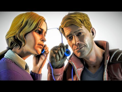 Guardians of the Galaxy screenshot of Meredith Quill, a woman in a purple sweater sharing a pair of headphones with Star-Lord.