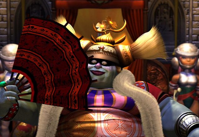 Final Fantasy IX screenshot of Queen Brahne, a huge blue-skinned woman in elaborate garb that looks more like an ogre than human, fanning herself with her royal guard in the background.