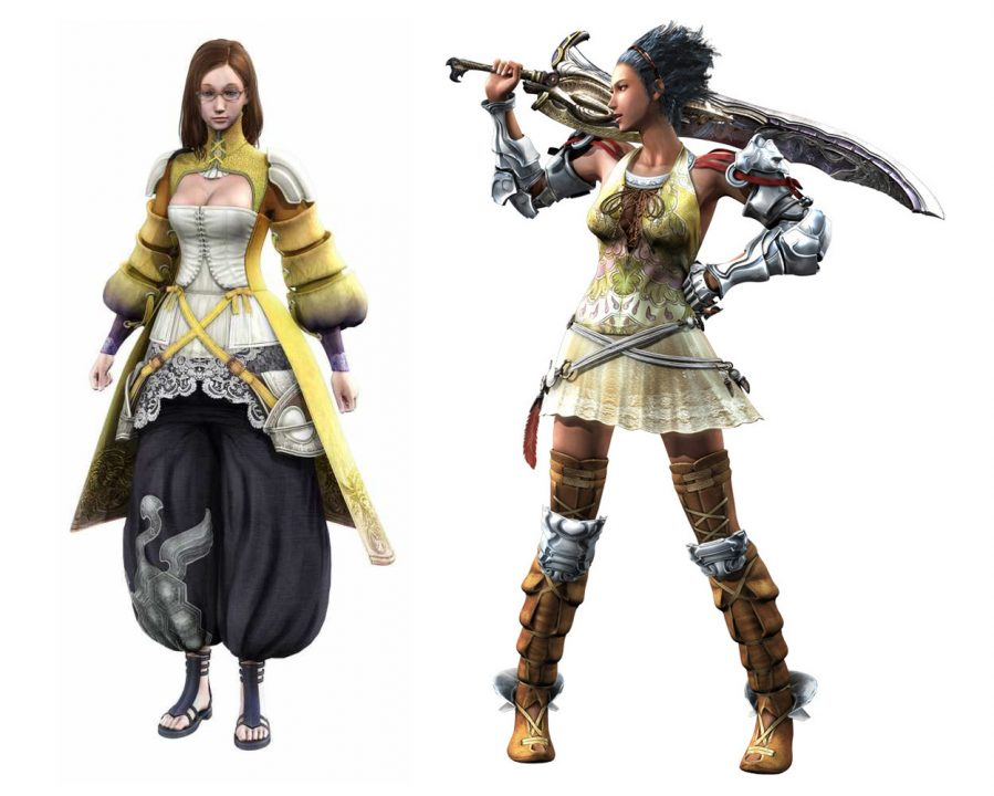 Lost Odyssey artwork of Sarah Sisulart & Seth Balmore, one clad in a yellow robe, white bustier, and black pantaloons, and the other in a lacy golden skirt with leather and metal boots and gloves, holding a large sword over her shoulder.