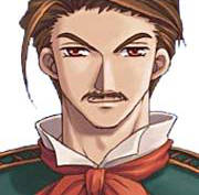 Headshot of Cassius Bright, a middle-aged man with short brown hair, thin mustache, and red scarf from The Legend of Heroes Trails in the Sky