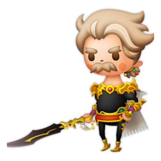 Galuf, an old man with wavy graying hair, bushy mustache, and elaborately gilded armor from Final Fantasy V