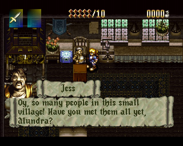 Jess asking Alundra if he has met all the villagers.