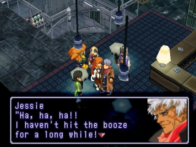 Jessie Black from Xenogears boisterously talking about being (currently) sober.