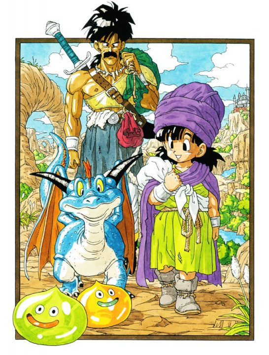 Pankraz, a tall man with big black hair and mustache, and layered ragged clothes watches his son, a small dragon, and a pair of smiling slimes from Dragon Quest V