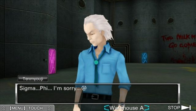 Tenmyouji, a white-haired man in a collared blue shirt apologizes to Sigma and Phi in a dingy metal room in Virtue's Last Reward