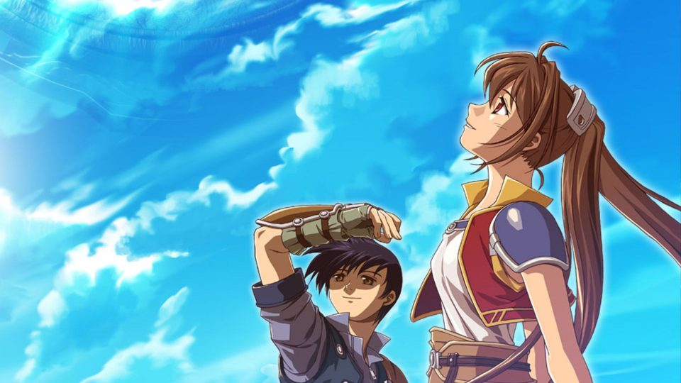 Estelle and Joshua look upwards into a clear blue sky.