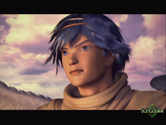 The main protanoist Kalas in the opening FMV of Baten Kaitos: Eternal Wings and the Lost Ocean