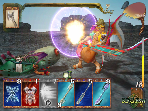 Gibari fighting monsters at the Lesser Celestial River in Baten Kaitos: Eternal Wings and the Lost Ocean