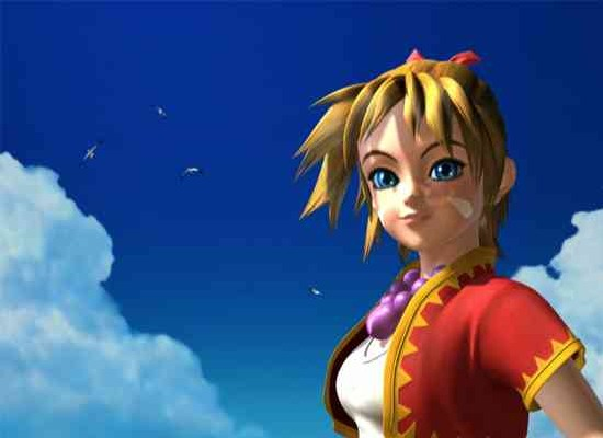 Chrono Cross' protagonist, Kid, a blonde girl in a white shirt and red vest smiling at the viewer against a deep blue cloudy sky.
