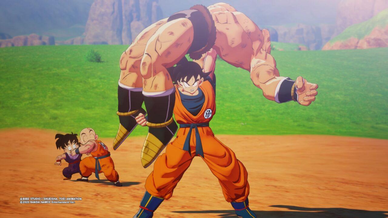 Goku suplexes an unfortunate foe.