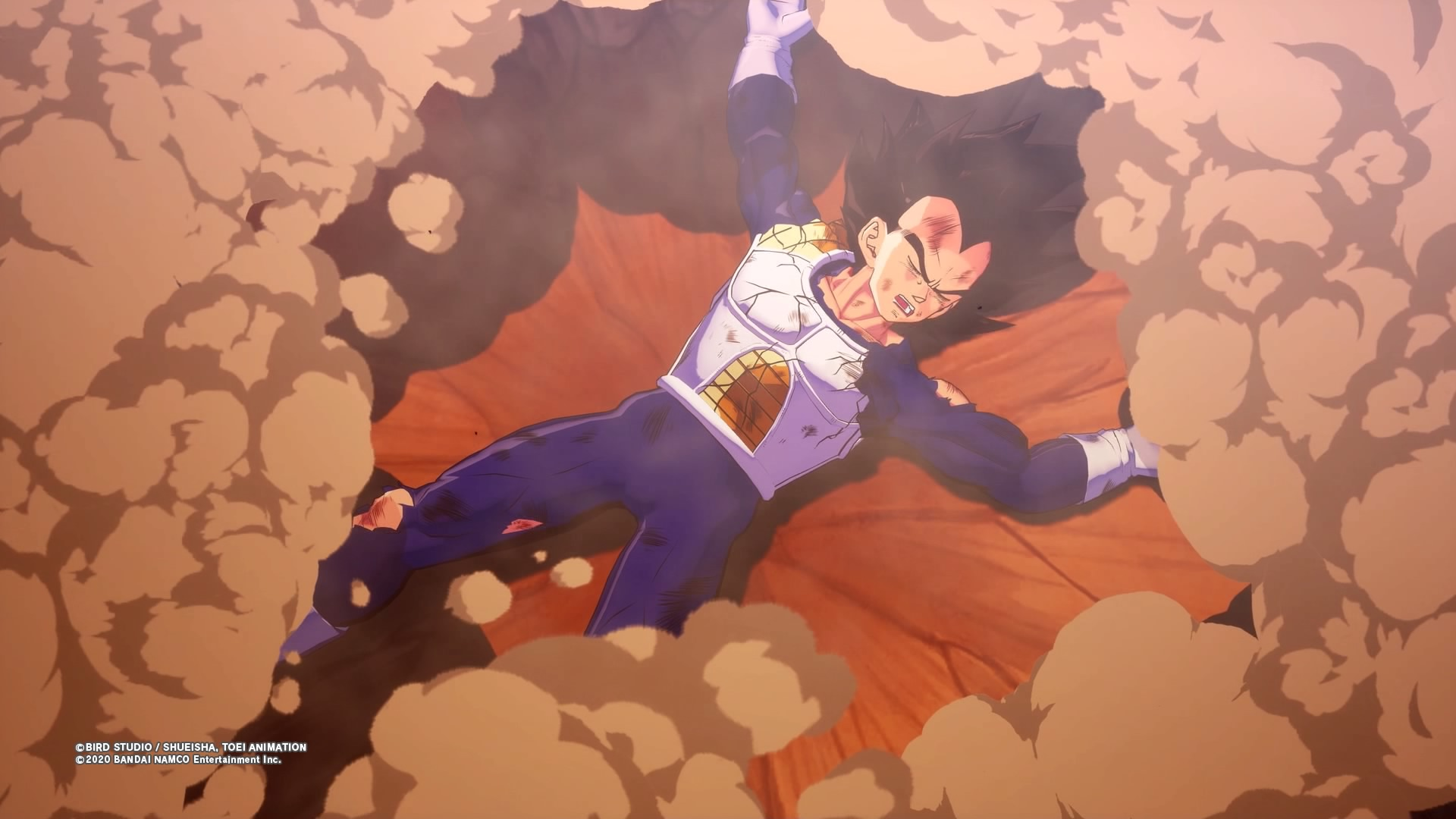 Screenshot From Dragon Ball Z Kakarot Featuring Vegeta Getting The Crap Kicked Out Of Him