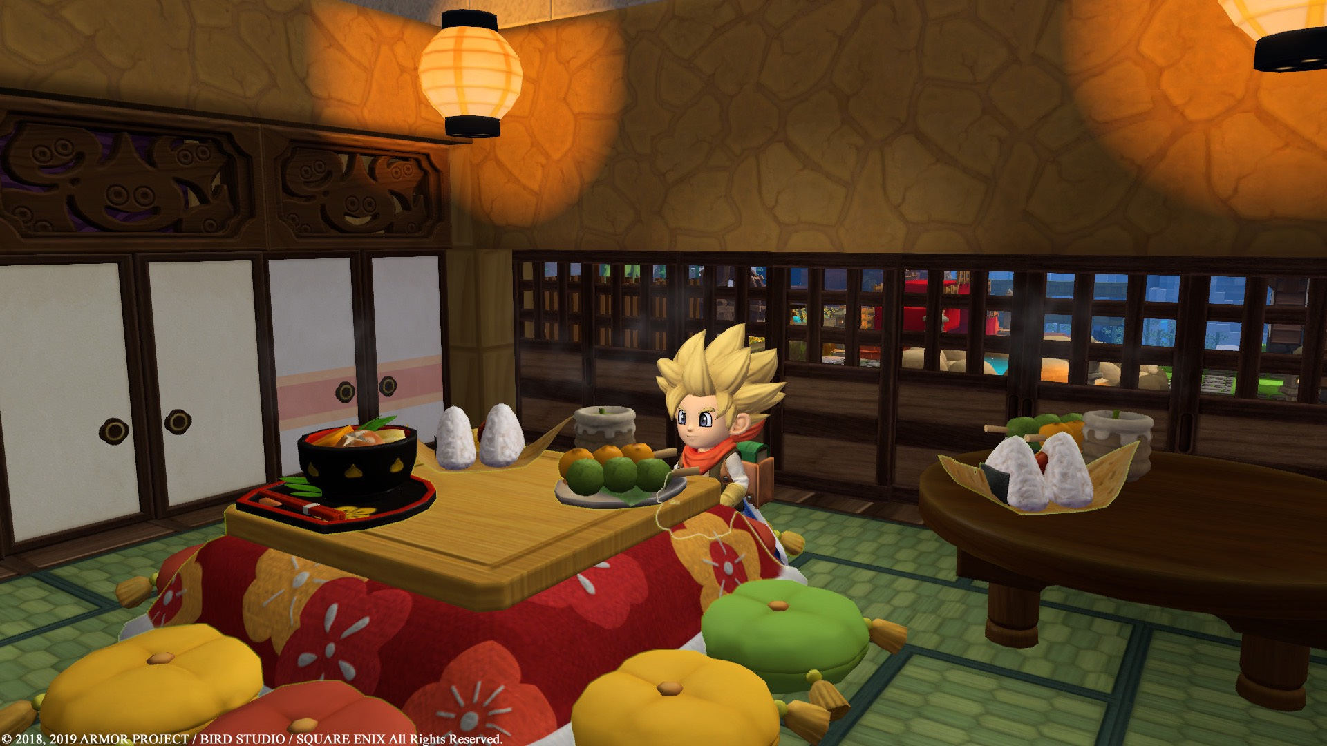 Dragon Quest Builders 2 screenshot of a blonde spiky haired kid sitting in an Asian-inspired home with sliding wood doors and pillows around a table.