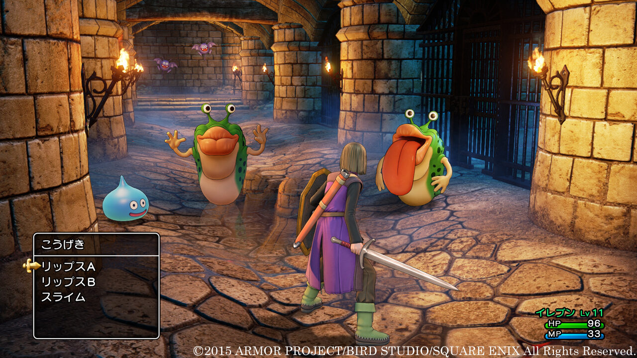 Dragon Quest XI screenshot where The Luminary faces off against enemies in a corridor: Two Mauluscs and a Slime.