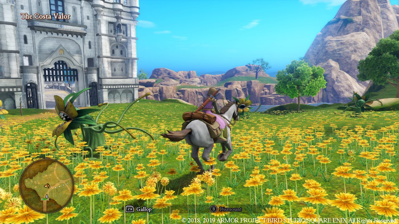 Hero in a purple tunic rides a gray horse through a field of yellow flowers near a castle.