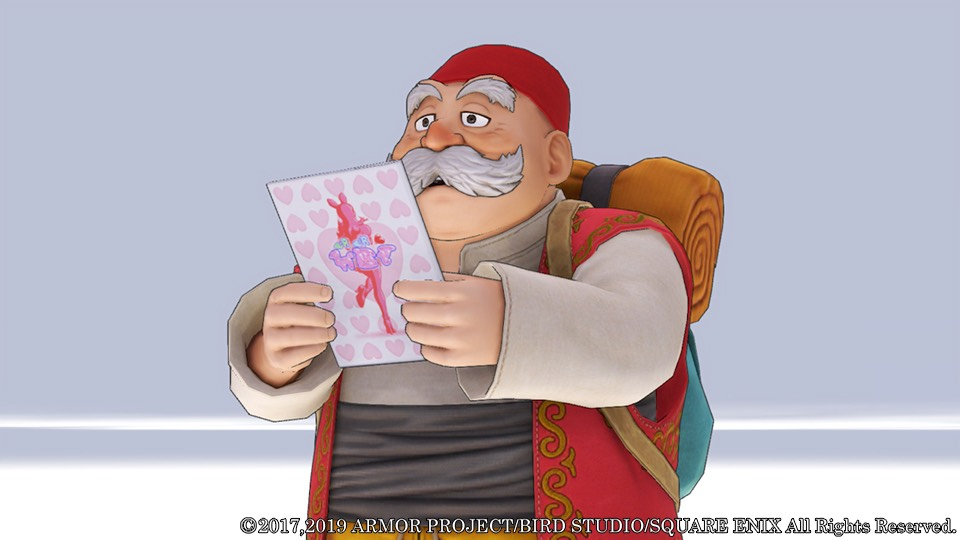 An older man with a moustache and pack on his back examines a postcard with a bunny girl and hearts.