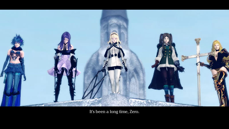 Drakengard 3 screenshot of five sisters in different colored outfits glaring down at the protagonist.