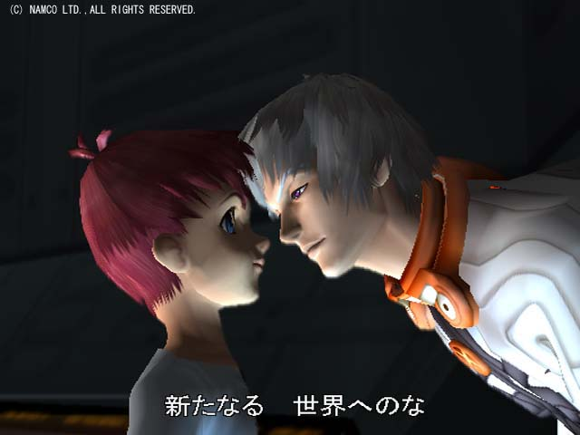 Screenshot of Albedo confronting Jr. in Xenosaga Episode I.