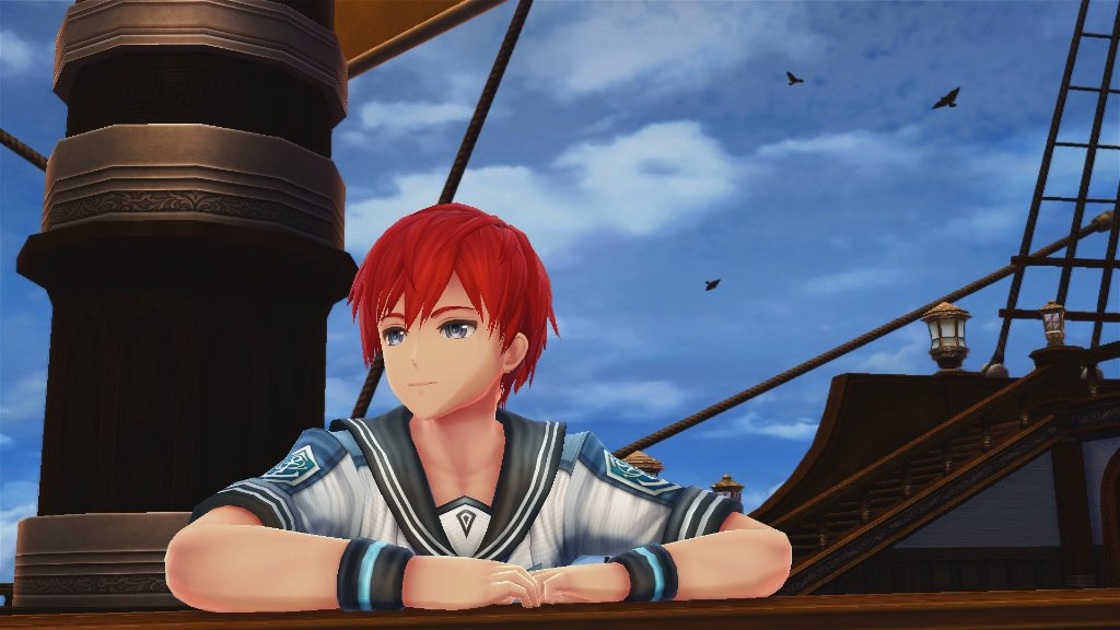 Leaning off the edge of a sailing ship at the start of Ys VIII: Lacrimosa of Dana.