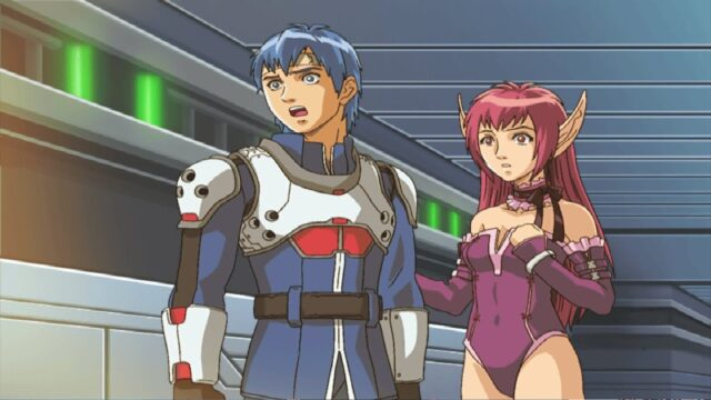 Phantasy Star's Nei and Rolf looking surprised.