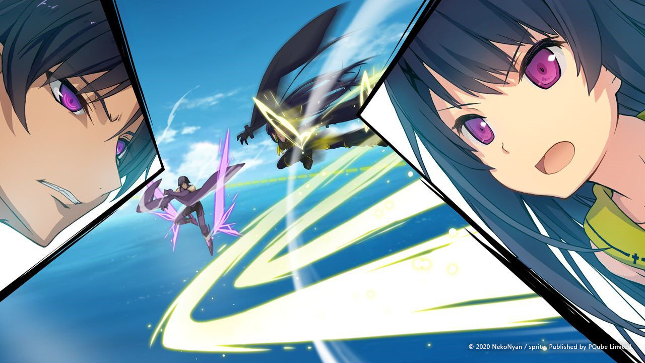 A girl with long dark hair faces off against a similar violet-eyes person while flying through a blue sky above some water.