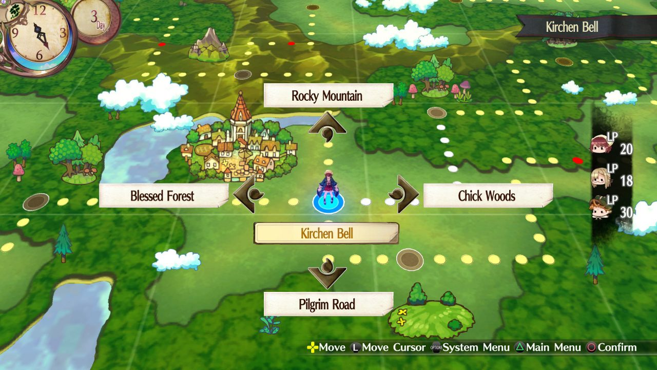 Atelier Sophie world map featuring options to go to Chick Woods, Rocky Mountain, Blessed Forest, or Pilgrim Road, with Kirchen Bell highlighted.
