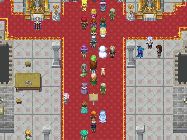 A great hall scene with people in a variety of outfits.