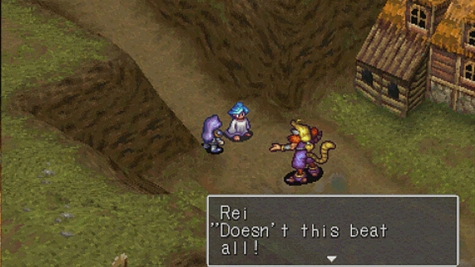 A screenshot of multiple characters in a town in Breath of Fire III.