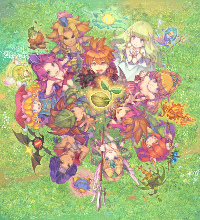 Key art for the Collection of Mana, featuring the cast from Adventure of Mana, Secret of Mana, and Trials of Mana