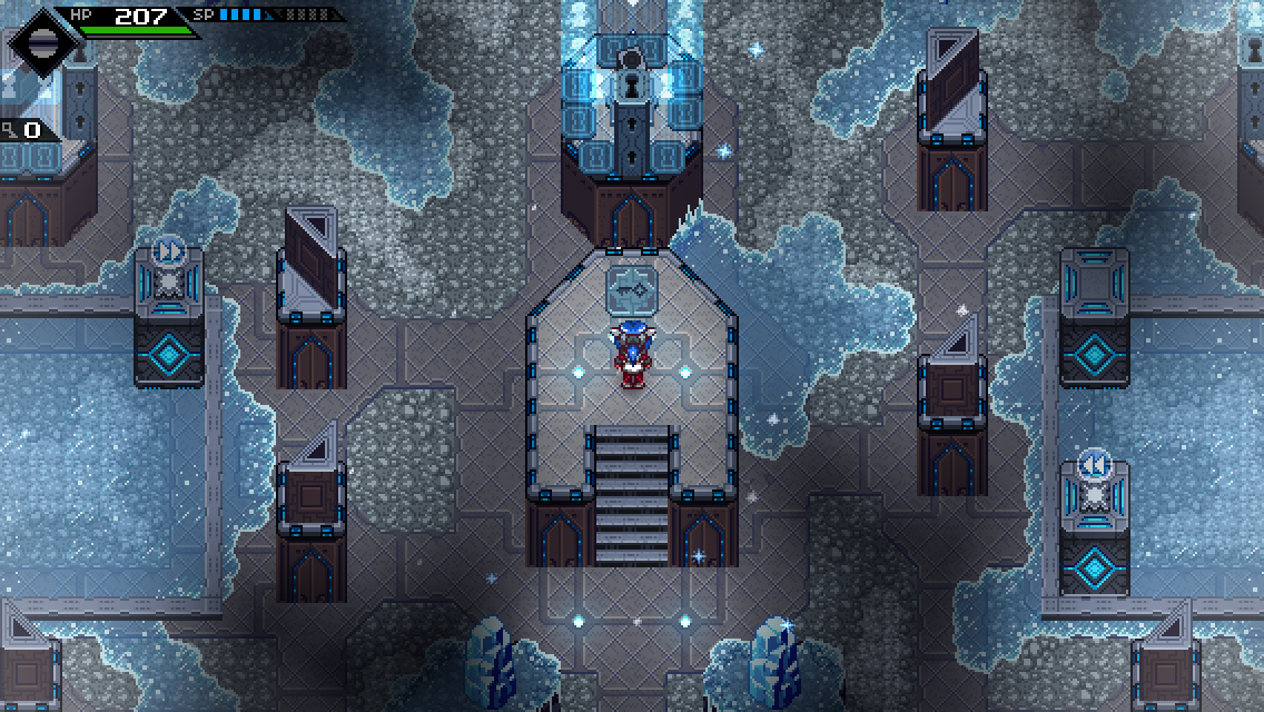 Lea finds a key on a platform in the center of some gray, icy ruins.
