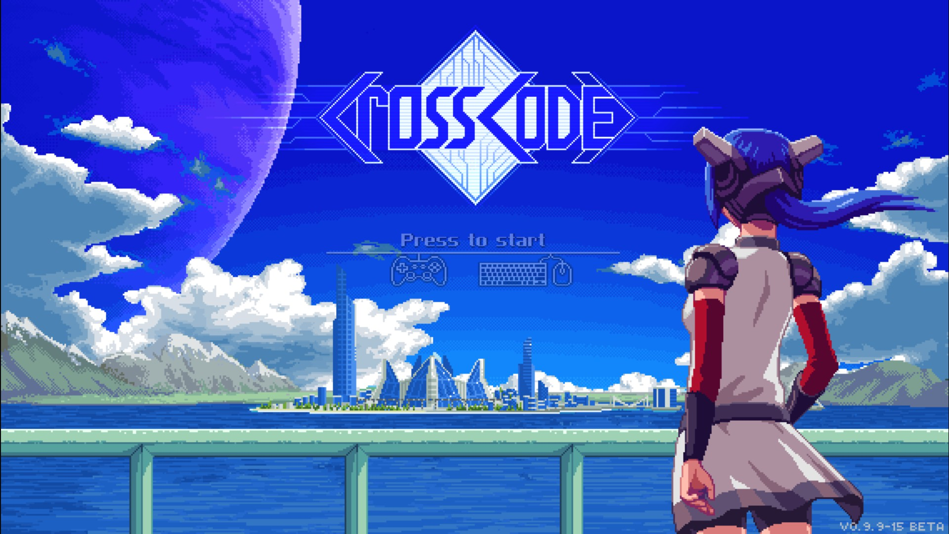 CrossCode title screen featuring Lea looking over the water at a city in the distance.
