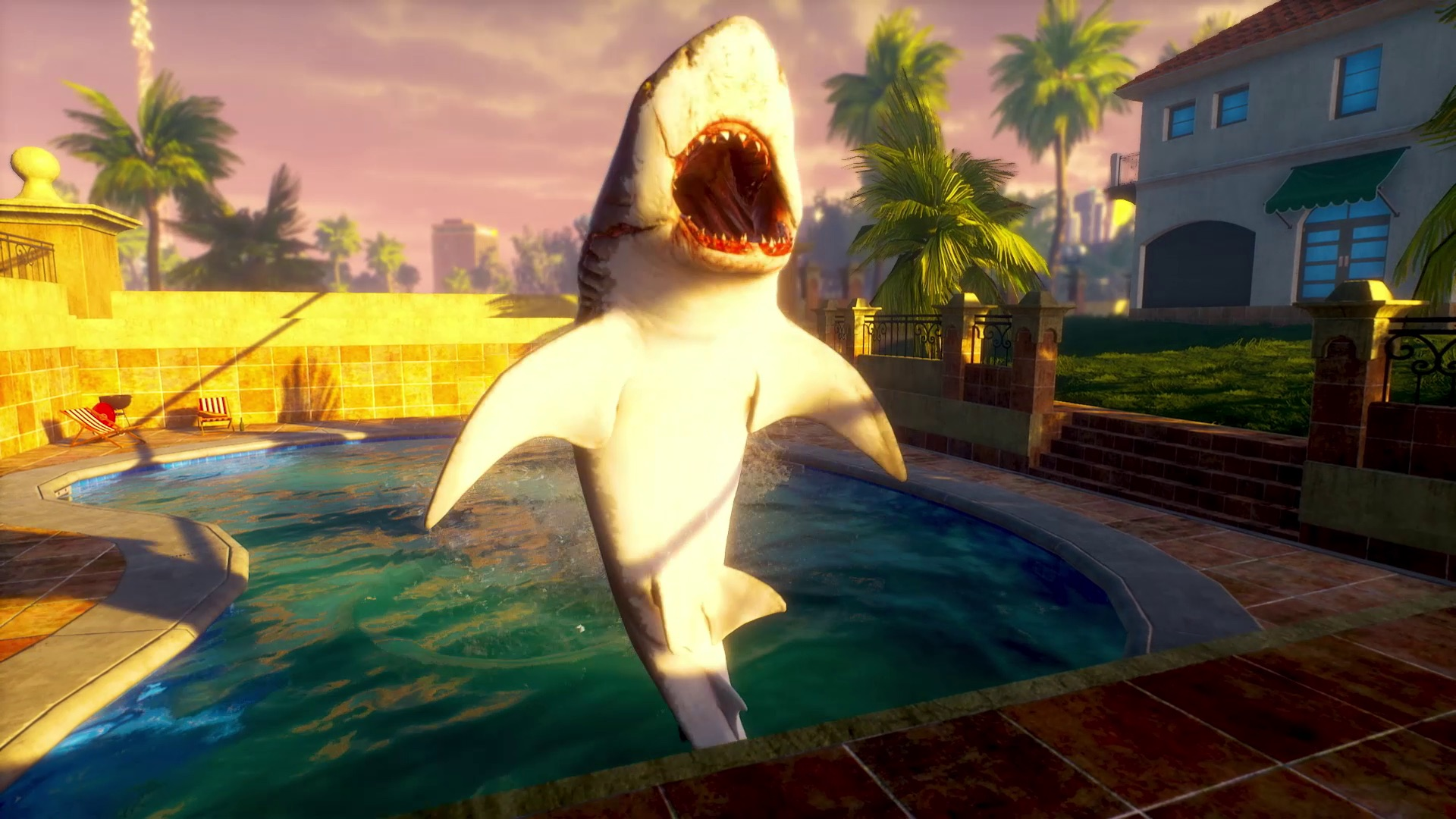 The protagonist of Maneater, a medium sized shark, balances in a swimming pool on its bottom fins, mouth open and wide.