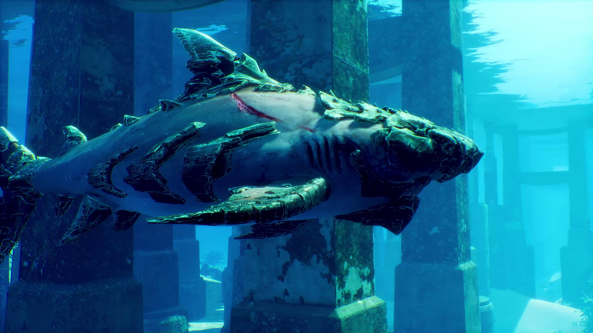 The protagonist of Maneater, a gigantic shark, swims through the sea.