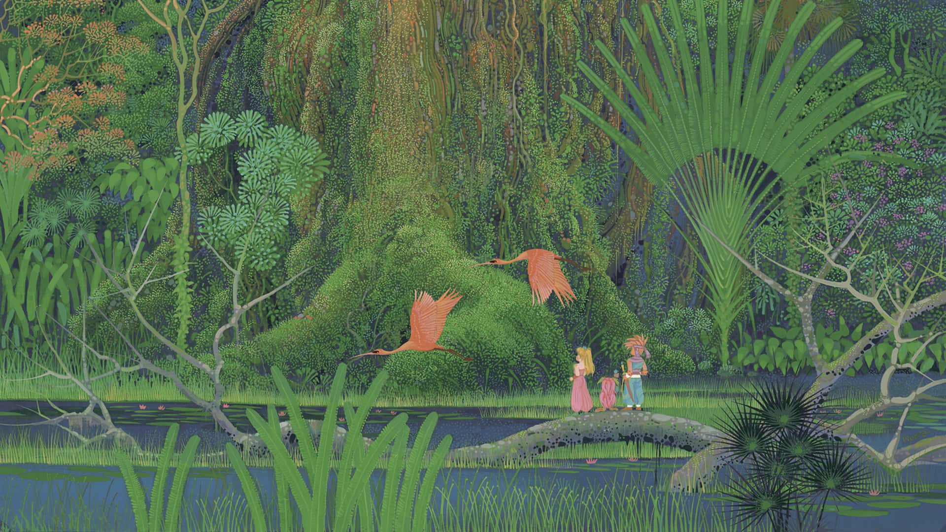 The cover art with Randi, Purim and Popoie standing in front of the Mana Tree in Secret of Mana