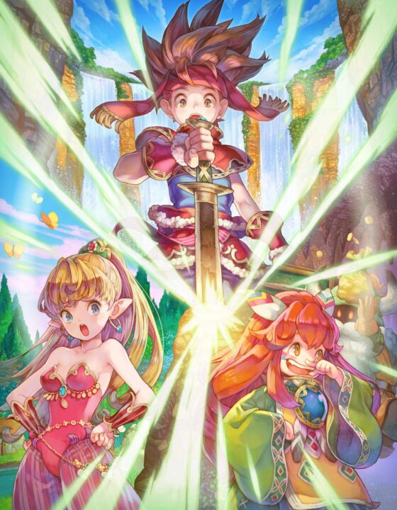 Randi, Purim and Popoie pulling out the Sword of Mana in artwork for Secret of Mana