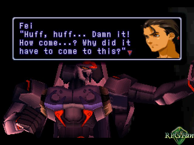 Fei wonders why it came to this in Xenogears.