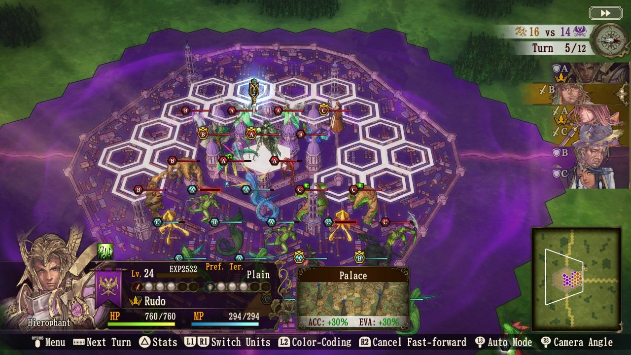 Brigandine The Legend of Runersia Screenshot of a hexagon-shaped grid-based battle of humans versus monsters in a large city.
